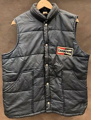 vtg 70s Champion Spark Plug Racing AUTO mens navy blue puffer Vest mens L XL USA