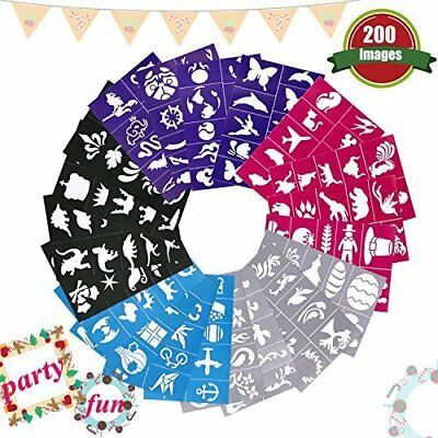 200 Patterns Face Body Paint Stencils Easy Stick Peel Painting Gifts Party Decor