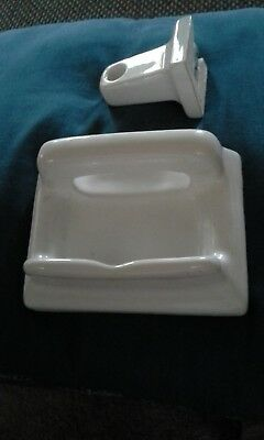 Vintage WHITE PORCELAIN WALL SOAP DISH AND TOILET PAPER HOLDER 6 inches 1960's