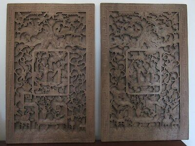 Nice Pair Of Antique Chinese Carved Wood Panels W Cert Antiquity