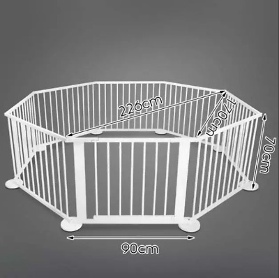 NEW 8 Panel White Wooden Playpen