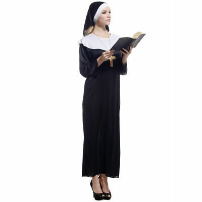 Nun Habit Costume Womens Ladies Sister Act Holy Religious Outfit Fancy Dress