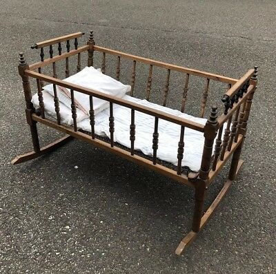 Antique Victorian Ball And Stick Style Baby Cradle Excellent Cond!