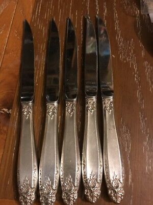 "International Prelude Sterling Silver 5 Steak Knives  8 1/4"" No Mono"