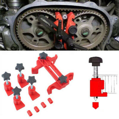 Engine Camshaft Timing Locking Tool Dual Cam Clamp Sprocket Gear Kit RED Hand