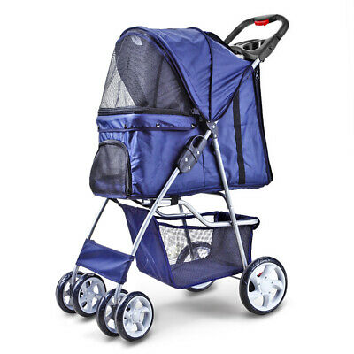 BestPet 4 Wheels Pet Dog Pet Cat Stroller Deluxe Folding for Travel Dark Blue