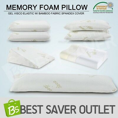 Memory Foam Pillow Gel Visco Elastic w/ Bamboo Fabric Spandex Cover Multi-Style