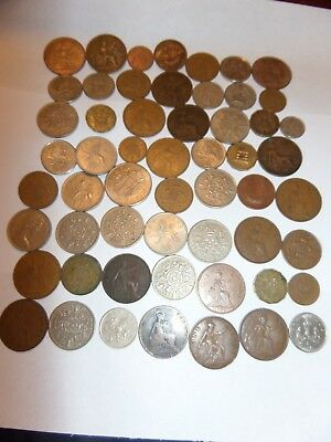 49 Lot Great Britain Uk Coins