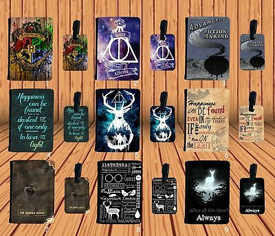 Passport Holder Faux Leather Cover OR Luggage Tag - Harry Potter Quotes Inspired