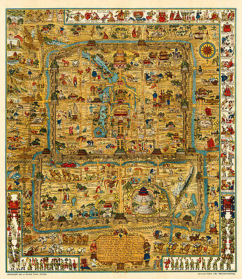 A Map and History of Peiping-Beijing 1936 75cm x 64cm High Quality Art Print