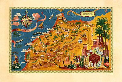 Air France-Le Maroc Morocco 1948 Vintage A1 High Quality Canvas Print