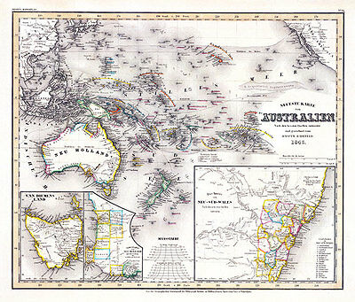 Australien Neuste Karte 1846 Vintage Map A1+ High Quality Canvas Art Print