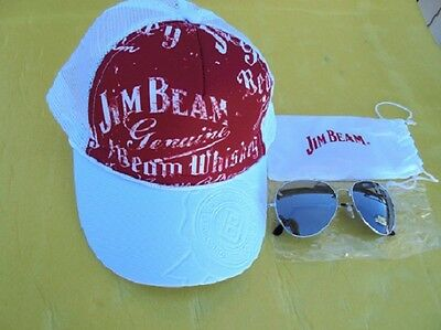 "Jim Beam Cap Red & White With Adjustable Head Band & Jim Beam Sun Glasses ""new"""
