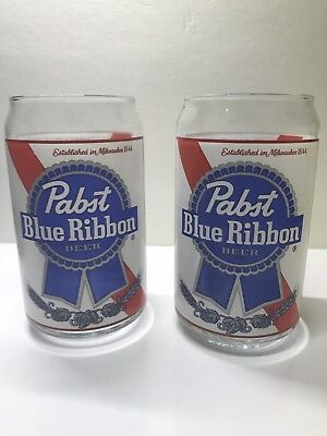 Pabst Blue Ribbon - PBR Can Inspired Glasses - 16 oz pint beer glasses