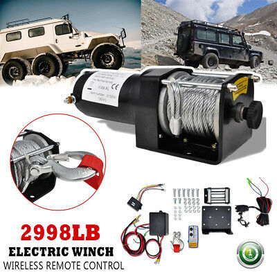 Electric Winch 12V 2998lb Wireless Remote Control Recovery Truck 9m Wire Rope