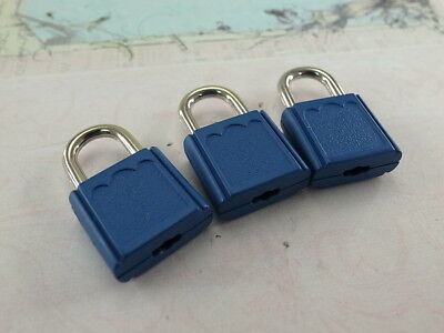 (Lot of 3) Mini Padlock MATT BLUE COLOR Small Tiny Box Lock with Keys