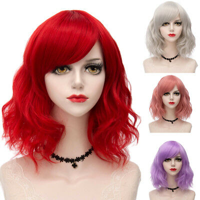 35CM Short Heat Resistant Lady Halloween Lolita Cosplay Wig Cute Wavy Ombre