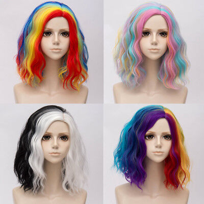 Ombre Cosplay Lolita Hair 35CM Wig Rainbow Synthetic Fashion Multi-Color Curly