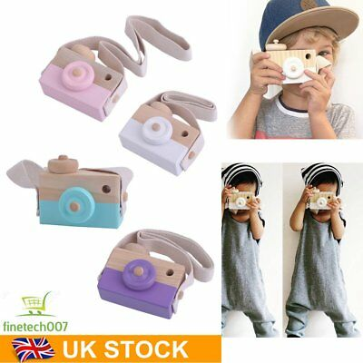 Cute Wooden Toy Camera Kids Girls Boys Creative Neck Camera Photo Props TY
