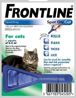 FRONTLINE Spot on Flea Treatment for Cats1 New Pipette In Retail Pack Fast Free