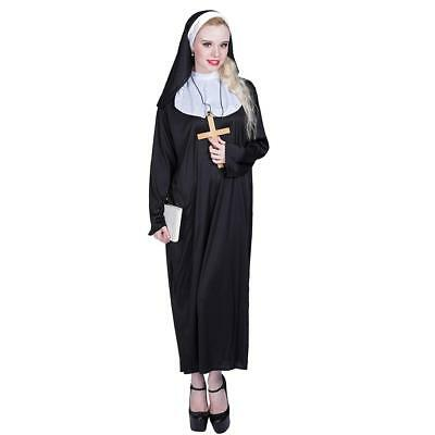 Women Nun Horror Costume Ladies Holy Religious Fancy Dress Suit Outfit Halloween