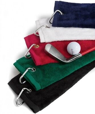 (Forest Green) - Tri-Fold Velour Sports Golf Towel Accessory in Forest Green