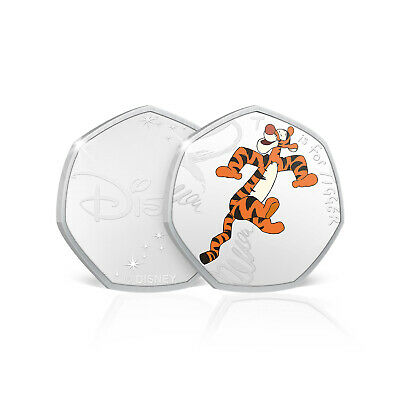 Winnie the Pooh Gifts 50p Shaped Silver Collectable Disney Coin T is for Tigger