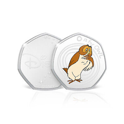 Winnie the Pooh Gifts 50p Shaped Collectable Silver Disney Coin - O is for Owl