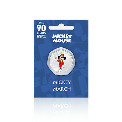 Mickey Mouse Disney Gifts 90 Years of 50p Shaped Collectable Coin Mickey March