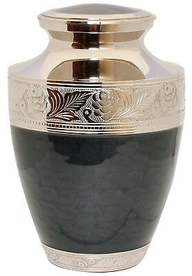 Adult Cremation Urn for Ashes, Large Funeral Memorial ashes container Black Urn