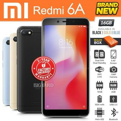 New & Sealed Factory Unlocked XIAOMI REDMI 6A Black Blue Gold Android Smartphone