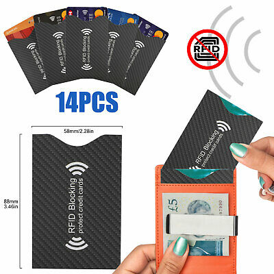 14 RFID Credit Card Passport Holder Case Cover Blocking Safety Sleeve Protector