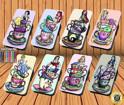 Disney Princess Teacup for Leather Flip iPhone Samsung Galaxy Huawei Wallet Case