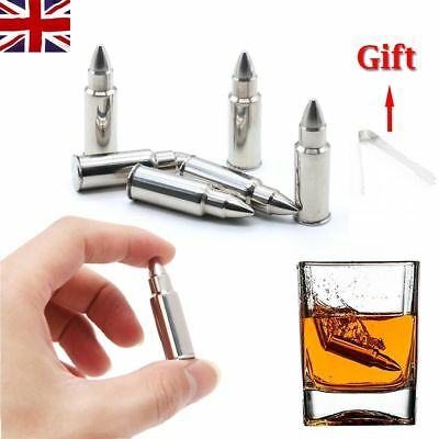 6PCS Steel Whiskey Bullet Ice Drink Chiller Cooler Cold Shot Stone Pouch In UK