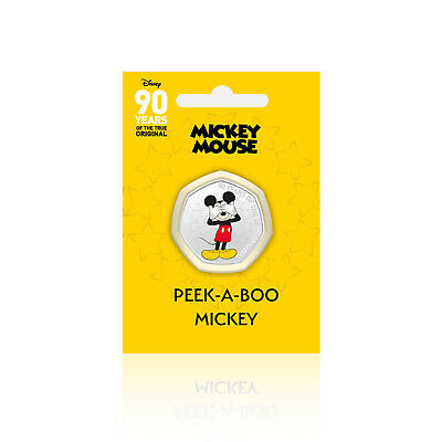 Mickey Mouse Disney 90 Years of 50p Shaped Collectable Coin Peek-A-Boo Mickey