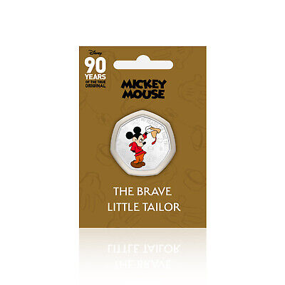 Mickey Mouse Disney 90 Years of 50p Shaped Collectable Coin Brave Little Tailor