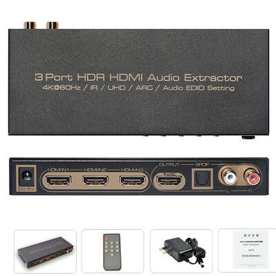 4K UHD 3x1 V2.0 HDMI Switch With Audio Extractor ARC SPDIF L/R 2.0 HDR LPCM DTS