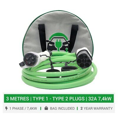 Type 2 to Type 1 EV charging cables. 16/32A charger. 3M cable. 5yr warranty +bag