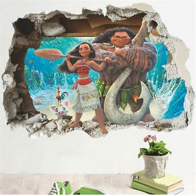 ZOOYOO® Cartoon Movie Moana Maui Movie 3D Broken Wall View Sticker Poster Boys