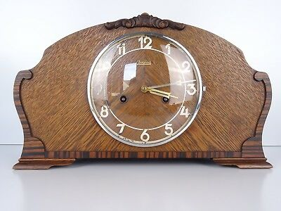German Mantel Shelf Clock Art Deco 1937 WW2 Junghans 8 day (Mauthe Kienzle era)