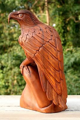 "12"" Large Wooden Eagle Statue Hand Carved Sculpture Figurine Art Home Decor Gift"