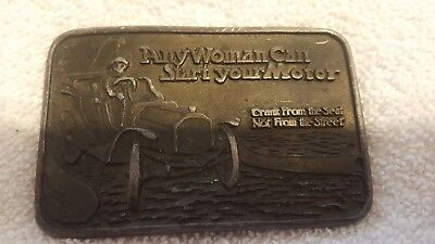 "Vintage Belt Buckle ""Any Woman Can Start Your Motor"" Antique Car Bronze Tone"