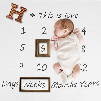 Swaddle Newborn Cotton Blanket Monthly Milestone Baby Photography Props TY