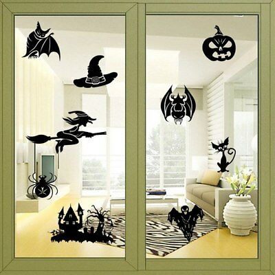 New Creative Witch Ghosts Bat Pumpkin Decal Halloween Wall Sticker Bedroom