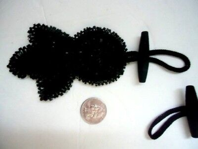Antique Victorian toggle frogs black glass beads beaded matching pair lace lot 2