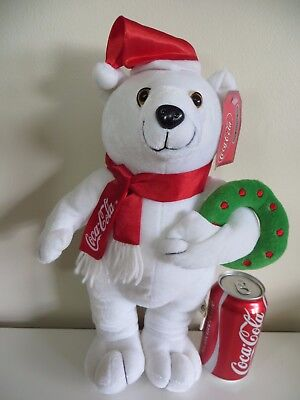 Christmas Coca-Cola Polar Bear Stuffed Toy Plush w/ Wreath Hat Scarf Tag 15""