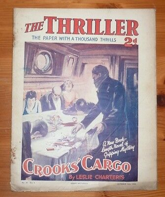 THE THRILLER No 37 Vol 1 19TH OCT 1929 CROOK'S CARGO BY LESLIE CHARTERIS