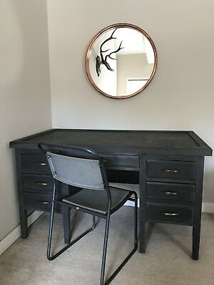 Antique Vintage Office Desk Storage Draws Cabinet Shabby Chic Industrial Chair