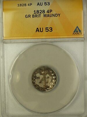 1828 Great Britain Groat Four Pence 4P Maundy Silver Coin ANACS AU-53