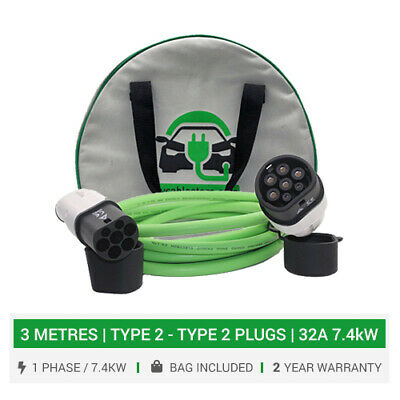 Type 2 to Type 2 EV charging cable. 16/32A charger. 3 metre cable. 5yr wty + bag